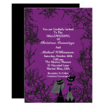 😻 Cute Halloween Cats Dark Purple Wedding Invitation