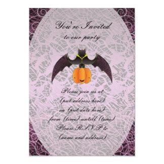 Purple Halloween Bat and Pumkin Custom Announcements