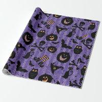 Purple Halloween Bat Pumpkin Witch Hat Owl Paper