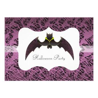 Purple Halloween Bat with Frame Invites