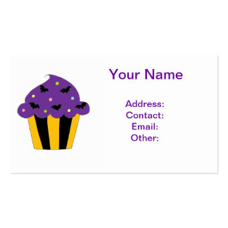 Purple Halloween Bats Cupcake Business Card