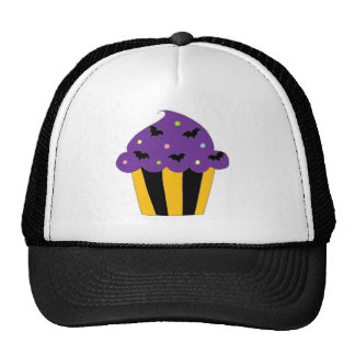 Purple Halloween Bats Cupcake Trucker Hat