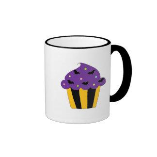 Purple Halloween Bats Cupcake Coffee Mugs