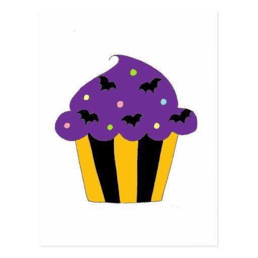 Purple Halloween Bats Cupcake Post Cards