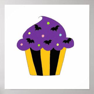 Purple Halloween Bats Cupcake Poster