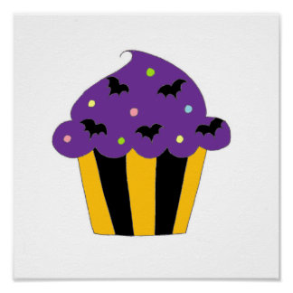 Purple Halloween Bats Cupcake Print