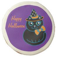 Purple Halloween Cat Cookies Sugar Cookie