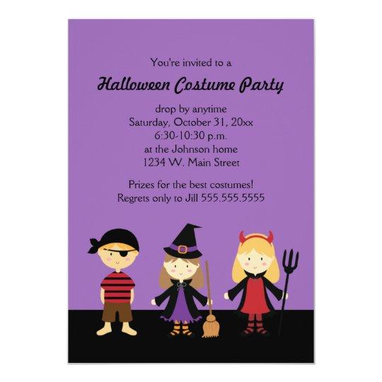 Purple Halloween Kids Costume Party Invitations