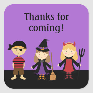 Purple Halloween Kids Thank You Favor Stickers