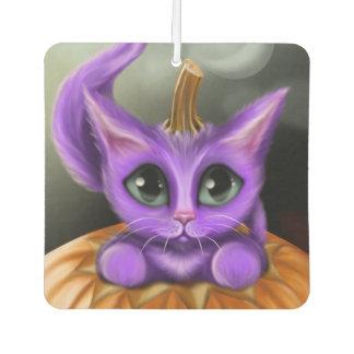 Purple Halloween Kitty Square Air Freshener