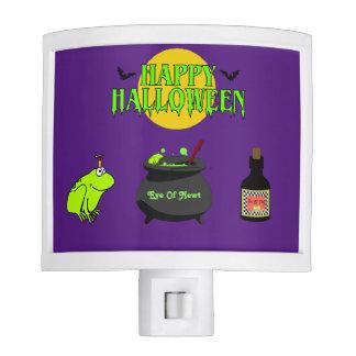 Purple Halloween Night Light w/Frog & Cauldron