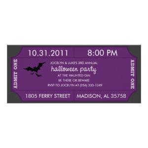 Purple Halloween Ticket Invitation