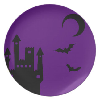 Purple Halloween Vampire Castle Dinner Plate
