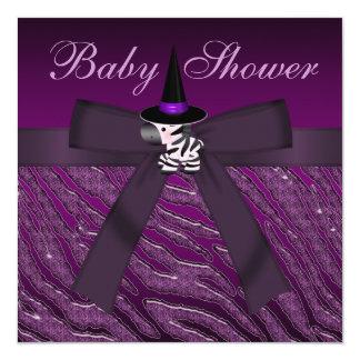 Purple Halloween Zebra & Animal Print Baby Shower Personalized Invitation