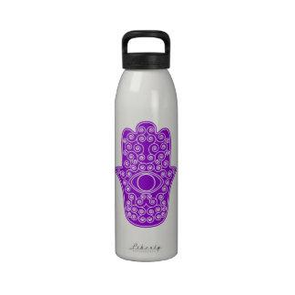 Purple Hamsa-Hand of Miriam-Hand of Fatima.png Reusable Water Bottles