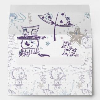 Purple Hand Drawn Christmas Snowman Envelope