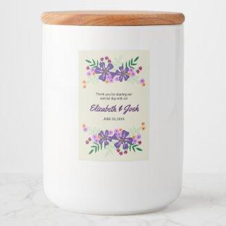 Purple Hand Drawn Flowers, Wedding Thank You
