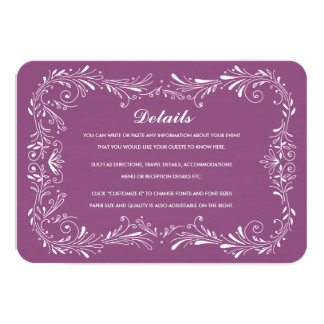 "Purple Hand-Drawn Foliage Response Card RSVP 3.5"" X 5"" Invitation Card"