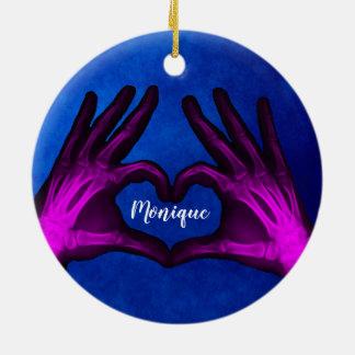Purple Hand Xray Heart Ceramic Ornament