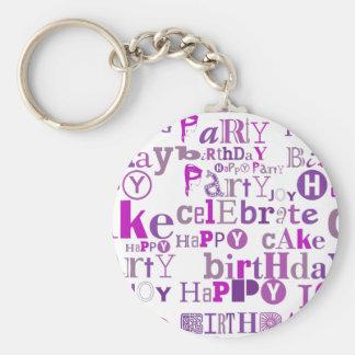 Purple Happy Birthday Basic Round Button Keychain