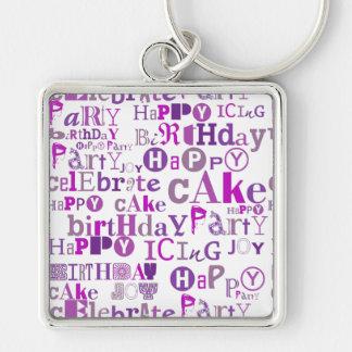 Purple Happy Birthday Silver-Colored Square Keychain