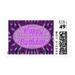 purple happy birthday postage stamps