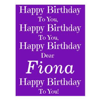 Purple Happy Birthday Song Postcard