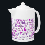 "Purple Happy Birthday Teapot<br><div class=""desc"">Monochromatic purple Happy Birthday text pattern</div>"
