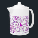 "Purple Happy Birthday Teapot<br><div class=""desc"">Monochromatic purple Happy Birthday text pattern</div>"