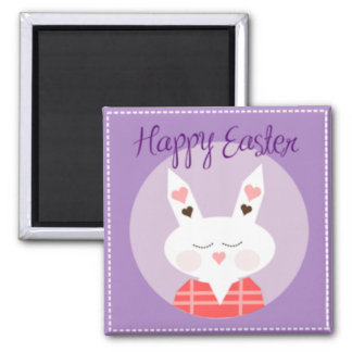 Purple Happy Easter Bunny 2 Inch Square Magnet
