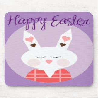 Purple Happy Easter Bunny Mouse Pads