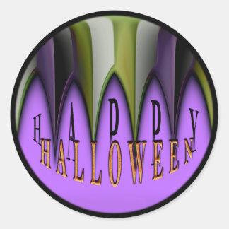Purple Happy Halloween Striped Fangs Classic Round Sticker