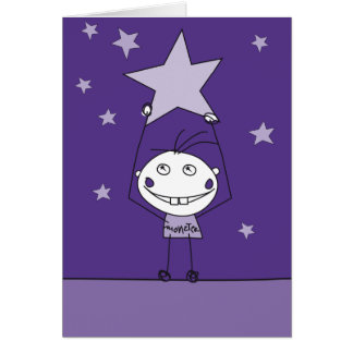 purple happy monster is catching a falling star cards