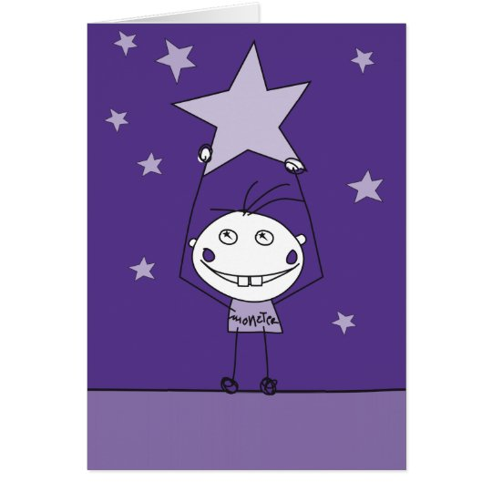 purple happy monster is catching a falling star card
