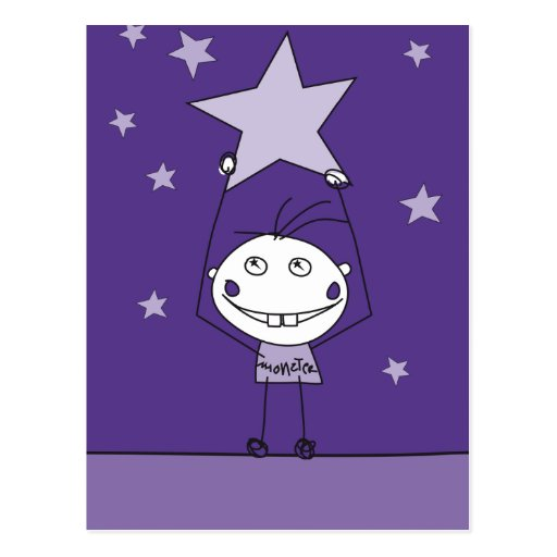 purple happy monster is catching a falling star postcard