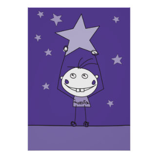purple happy monster is catching a falling star poster