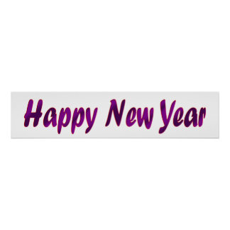 purple happy new year banner poster