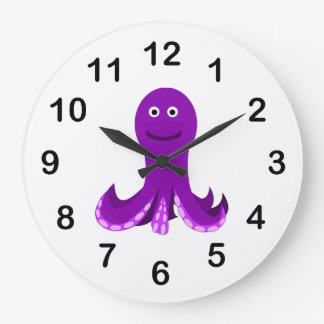 Purple happy octopus cartoon large clock