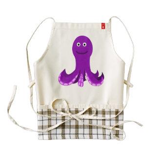 Purple happy octopus cartoon zazzle HEART apron