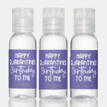 Purple Happy Quarantined Birthday Name Date Favor Hand Sanitizer