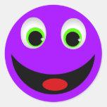 PURPLE HAPPY SMILEY FACE CLASSIC ROUND STICKER