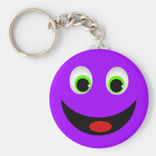 PURPLE HAPPY SMILEY FACE BASIC ROUND BUTTON KEYCHAIN