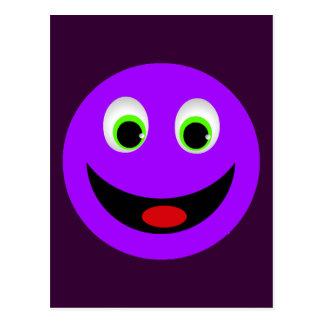 PURPLE HAPPY SMILEY FACE POSTCARD