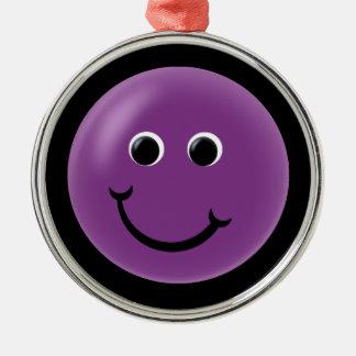Purple Happy Smiley Silver-Colored Round Decoration