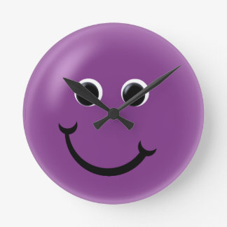 Purple Happy Smiley Round Clock