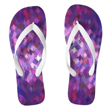 Beach Themed Purple Harlequin Abstract Pattern Flip Flops