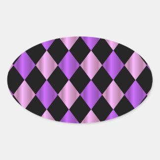 Purple Harlequin Oval Sticker