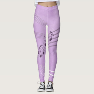 Purple Harmony with Music Notes Leggings