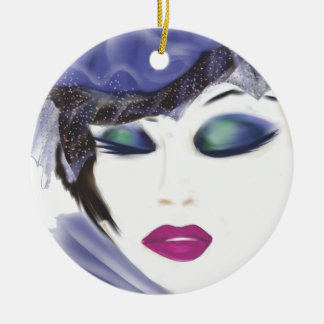 purple hat lady blank.png ceramic ornament