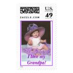 Purple hat Zaylynn, I love myGrandpa! Postage Stamps